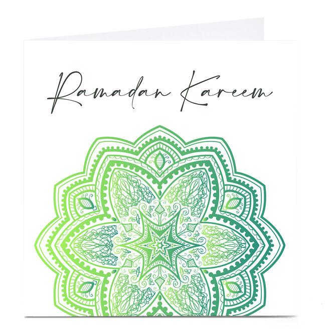 Personalised Roshah Designs Eid Card - Ramadan Kareem Green
