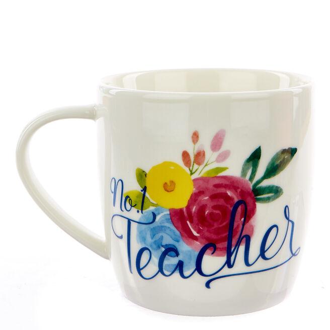 No.1 Teacher Floral Mug In A Box