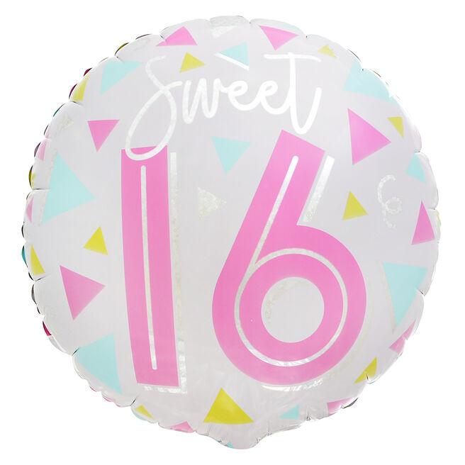 Sweet Sixteen 16th Birthday 18-Inch Foil Helium Balloon