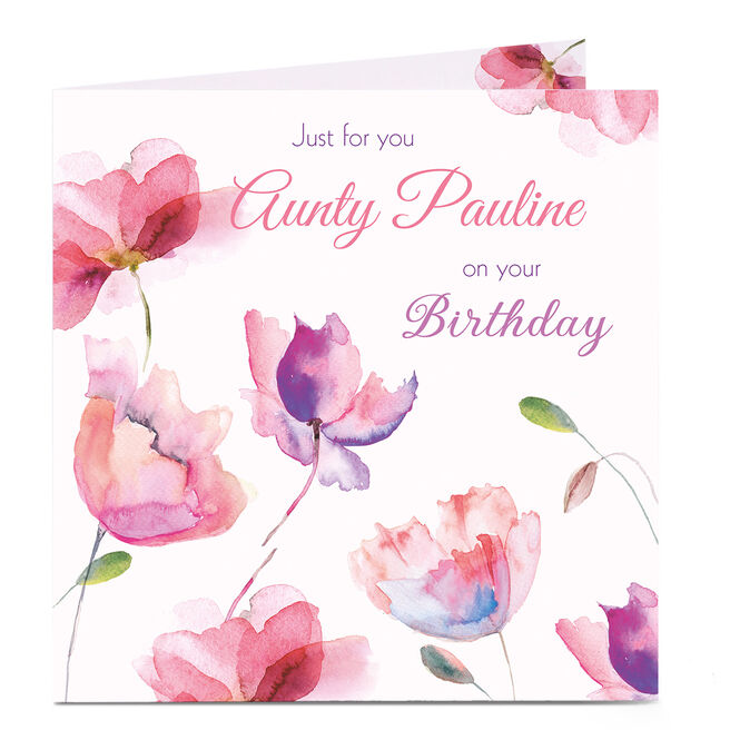 Personalised Birthday Card - Just For You, Flowers