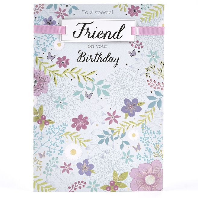 Birthday Special Friend Card - Floral Design