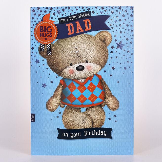Hugs Birthday Card - Dad Bear In Jumper