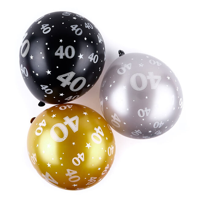 Gold 40th Birthday Helium Latex Balloons - Pack Of 6