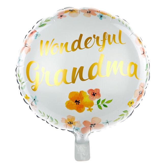 Wonderful Grandma 18 Inch Foil Helium Balloon