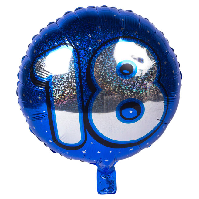 Holographic Blue Age 18 Foil Helium Balloon