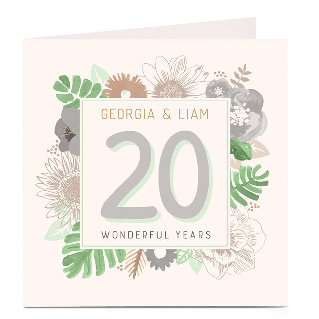 Personalised Anniversary Card - Leaves and Flowers
