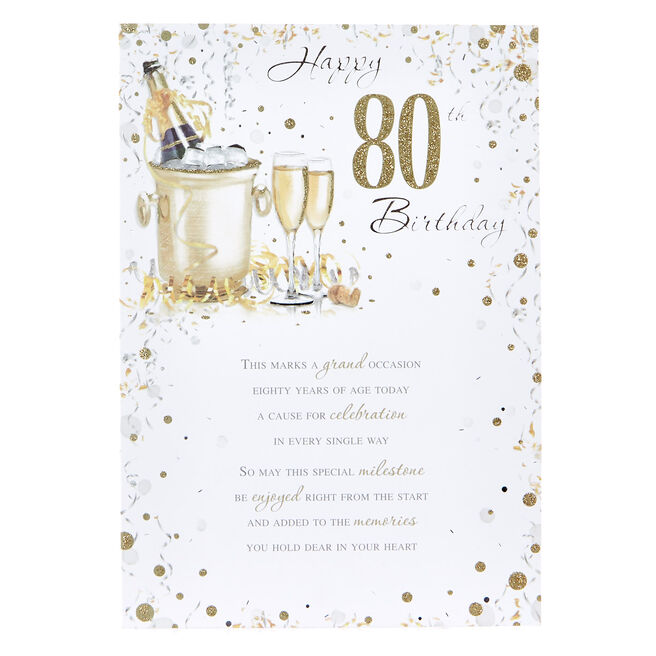 80th Birthday Card - Champagne on Ice