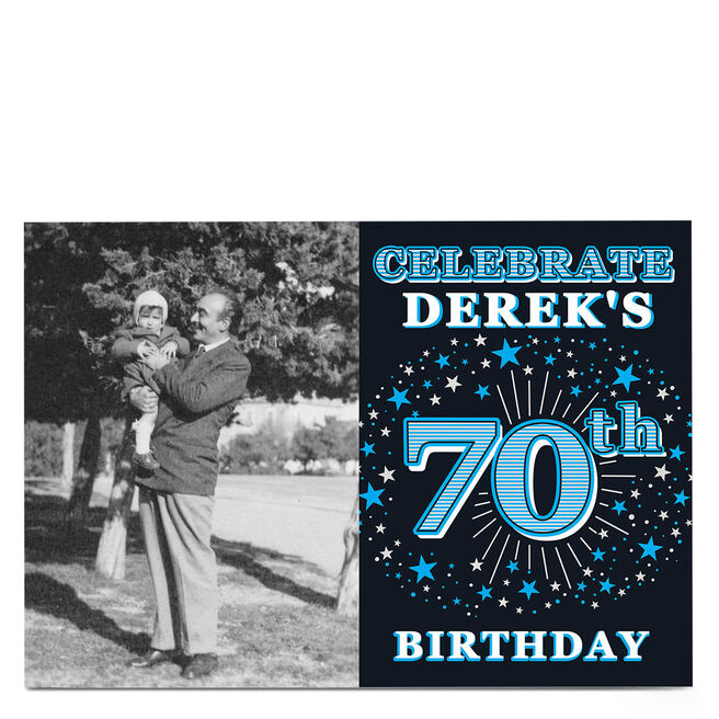 Photo 70th Birthday Invitation - Blue Stars