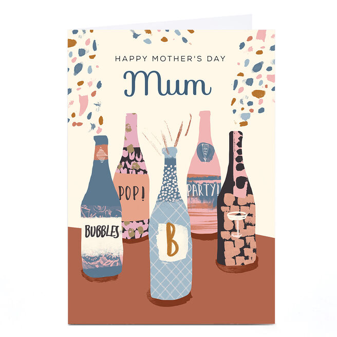 Personalised Rebecca Prinn Mother's Day Card - Champagne Bottles