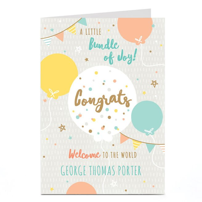 Personalised Card - New Baby - Bundle of Joy Balloons