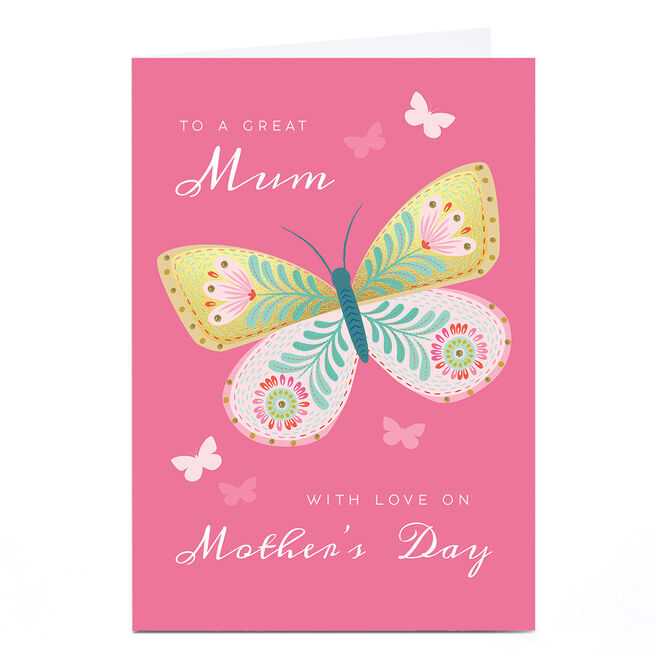 Personalised Klara Hawkins Mother's Day Card - Butterfly