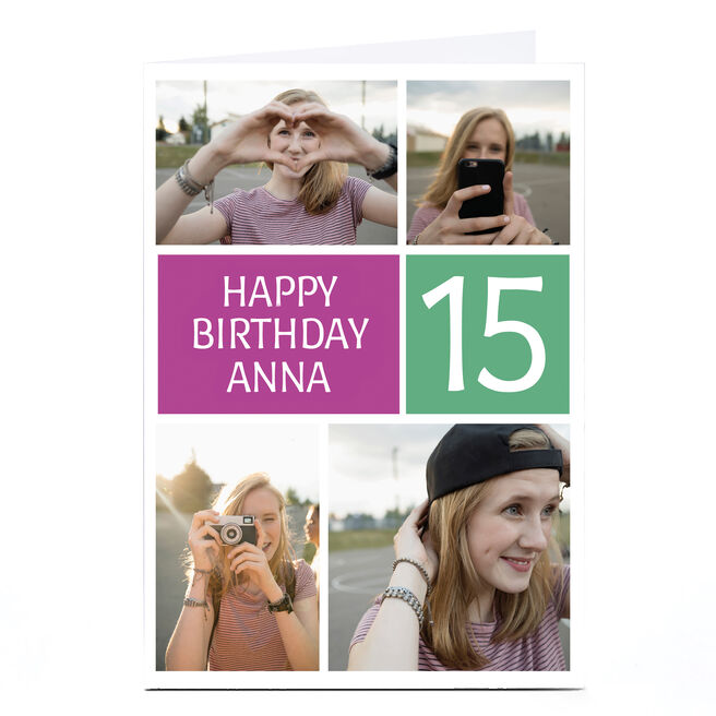 Photo Card - Green and Purple Boxes, Any Age