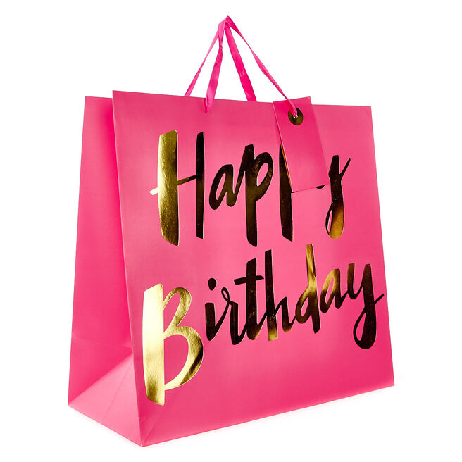 Giant Gift Bag - Pink, Happy Birthday