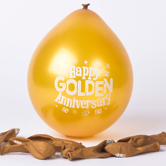 Golden Anniversary Small Latex Balloons - Pack Of 10