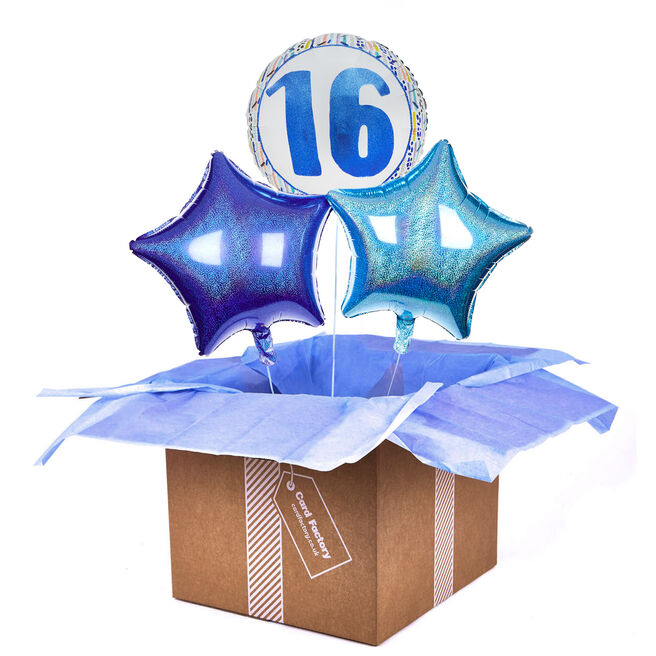 Blue Patterned 16th Birthday Balloon Bouquet - DELIVERED INFLATED!