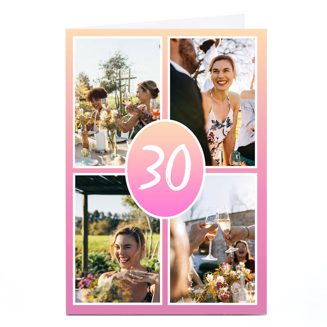Personalised 30th Milestone Age Photo Card - Pink Gradient Editable Age