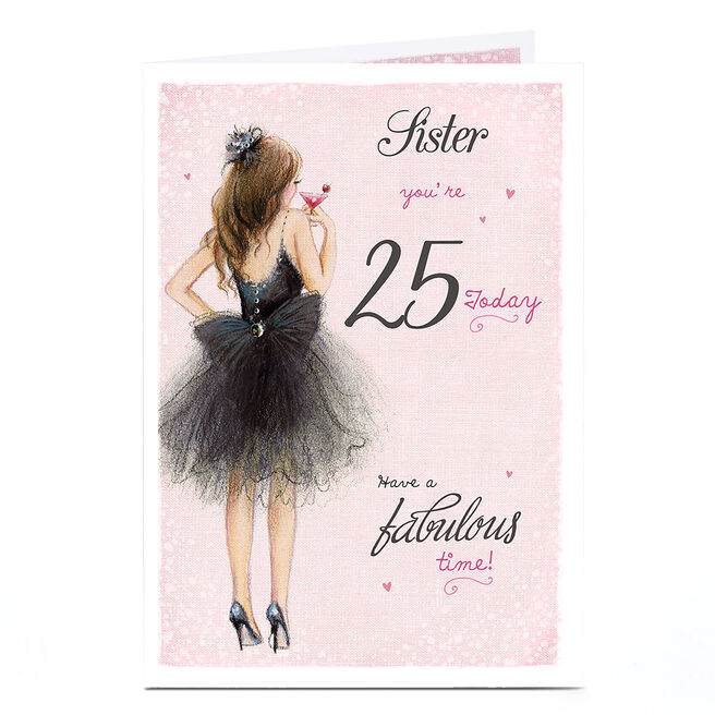Personalised Any Age Birthday Card - Black Tutu, Sister