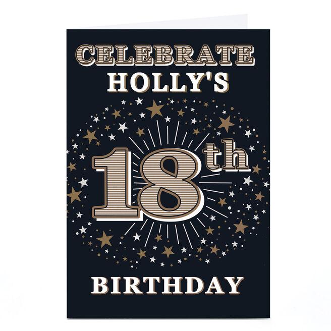 Personalised 18th Birthday Invitation - Gold Stars