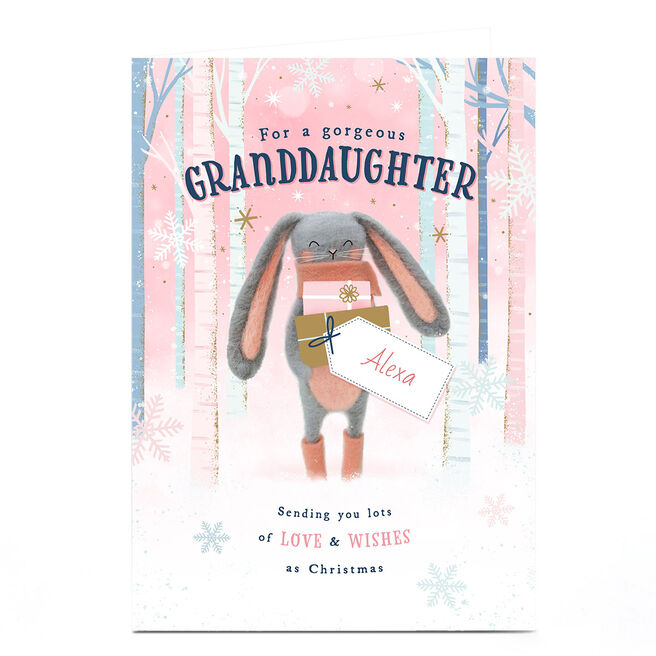 Personalised Christmas Card - Granddaughter Bunny