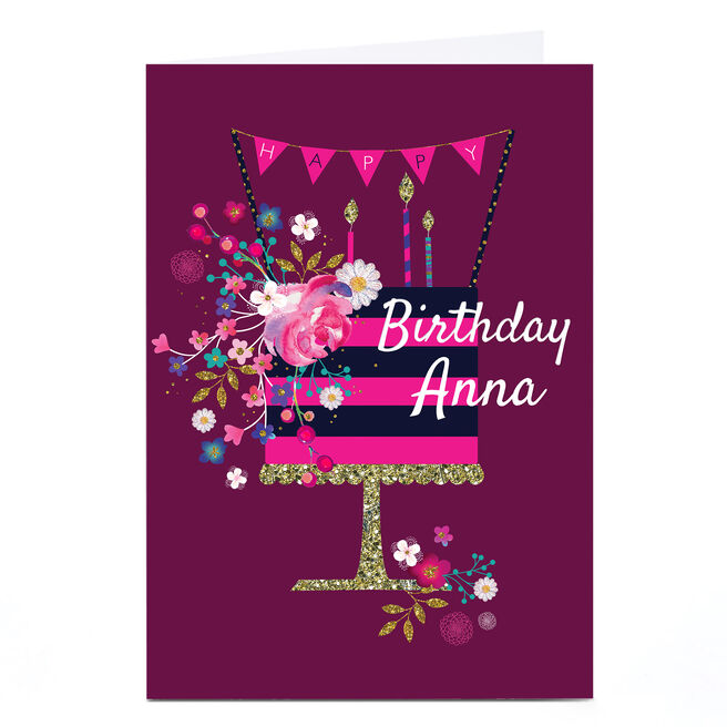 Personalised Kerry Spurling Birthday Card - Cake [Any Message]