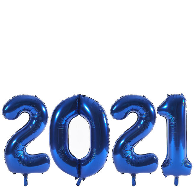 2021 Jumbo Blue Number Balloon Bundle
