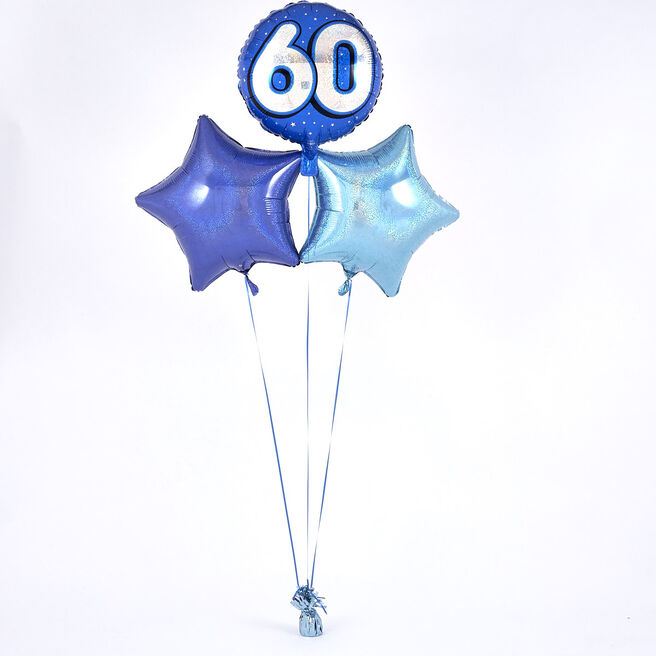 Blue 60th Birthday Balloon Bouquet - DELIVERED INFLATED!