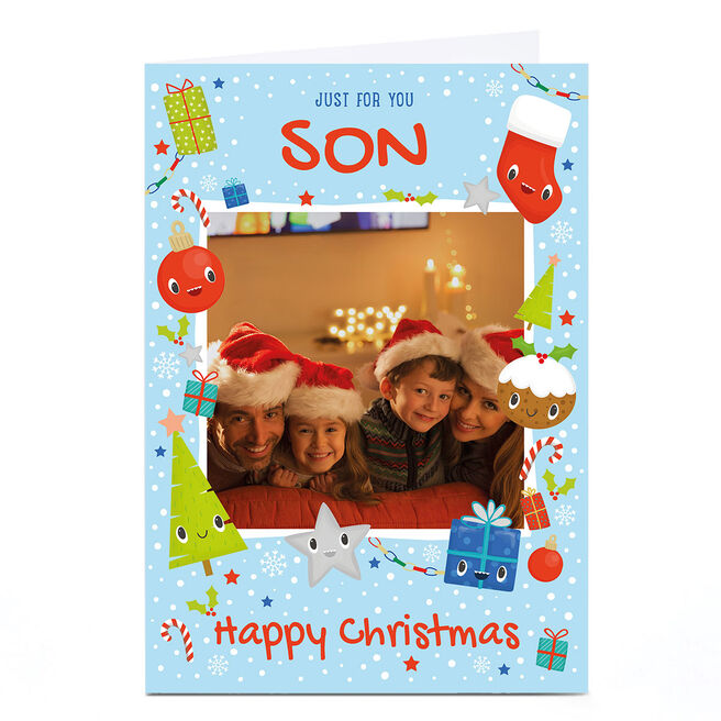 Photo Christmas Card - Just For You, Blue