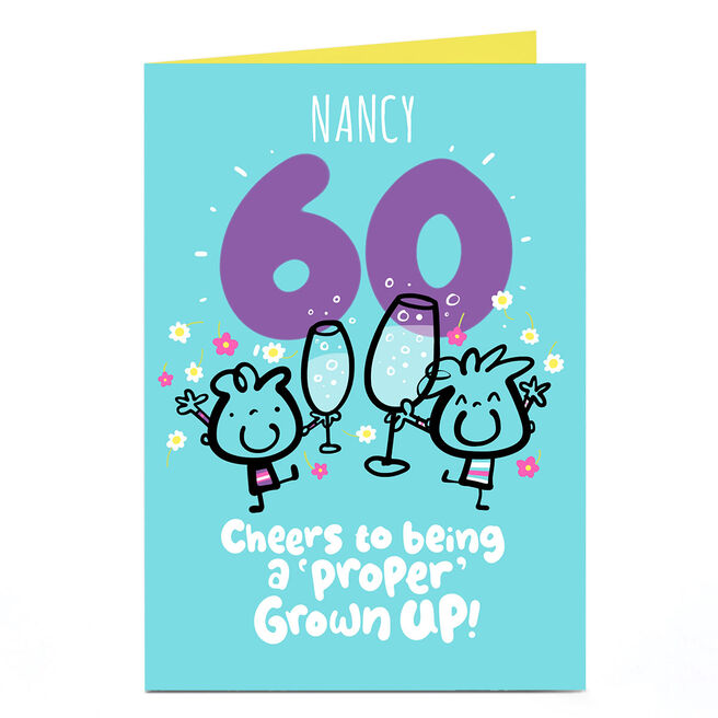 Personalised Fruitloops 60th Birthday Card - A 'Proper' Grown Up!