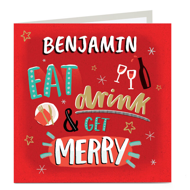 Personalised Christmas Card - Eat, Drink, Be Merry