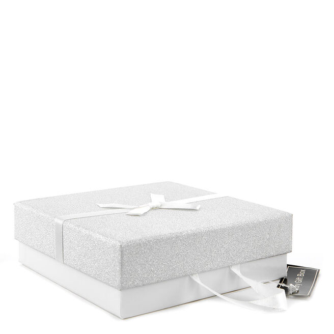 Large Luxury Gift Box - White & Silver Glitter