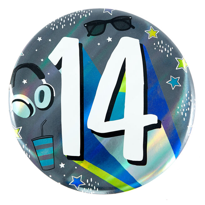 Giant 14th Birthday Badge - Blue