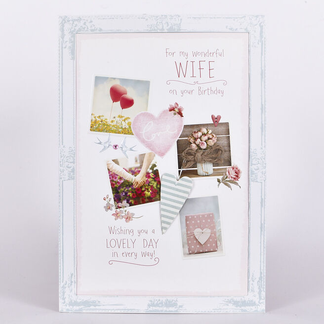 Signature Collection Birthday Card - Wife 4 Photos
