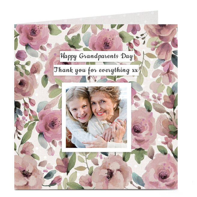Personalised Grandparents Day Card - Pink Floral
