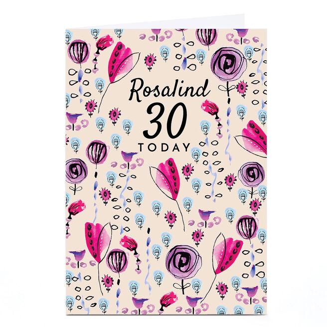 Personalised Rebecca Prinn 30th Birthday Card