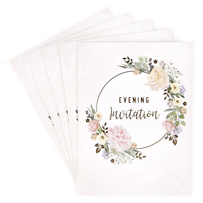 Evening Wedding Invitations, Floral Pink - Pack of 12