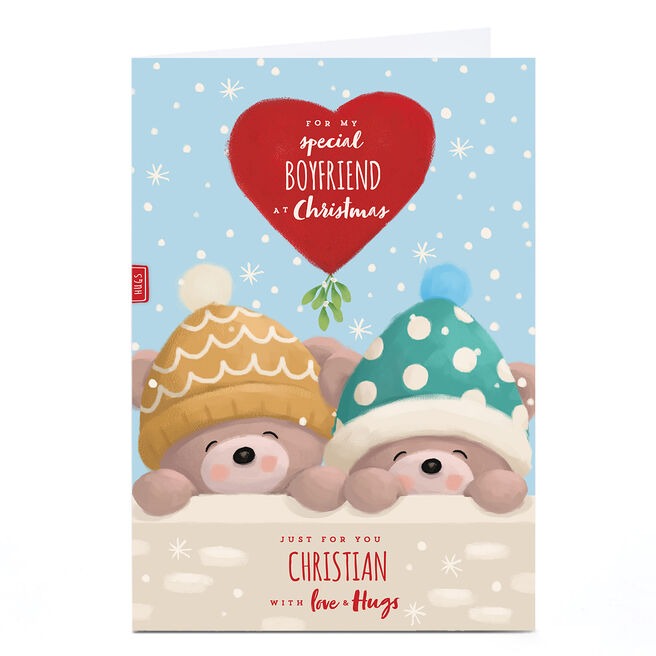 Personalised Hugs Bear Christmas Card - Just For You