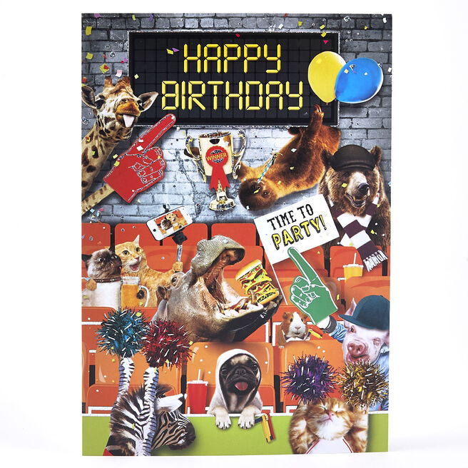 Concertina Birthday Card - Funny Animals