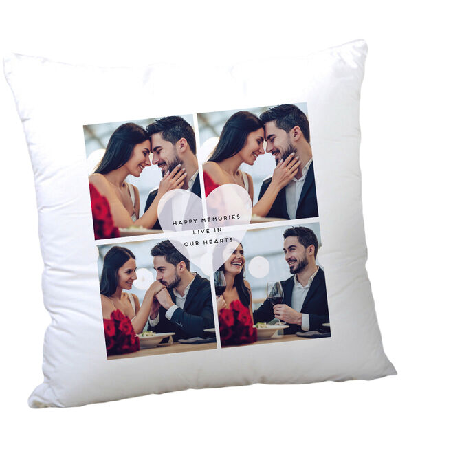 Multi Photo Valentine's Cushion - Happy Memories Live In Our Hearts