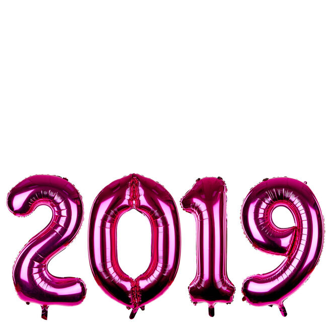 Giant 2019 Pink New Year Balloon Pack (Deflated)