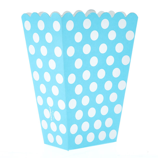 Powder Blue Dotty Treat Boxes - Pack Of 8