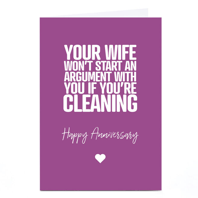 Personalised Punk Anniversary Card - Wife, Cleaning
