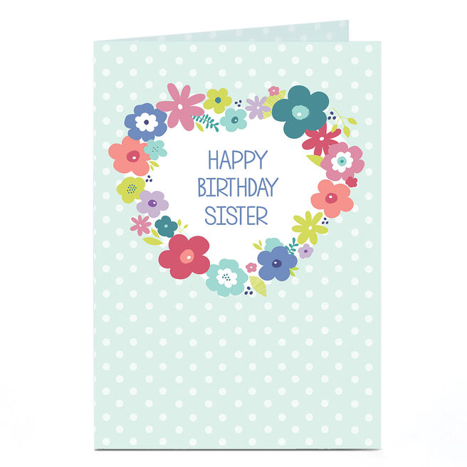 Personalised Birthday Card - Flower Wreath Sister