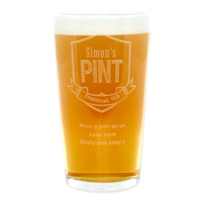 Personalised Established Badge Pint Glass