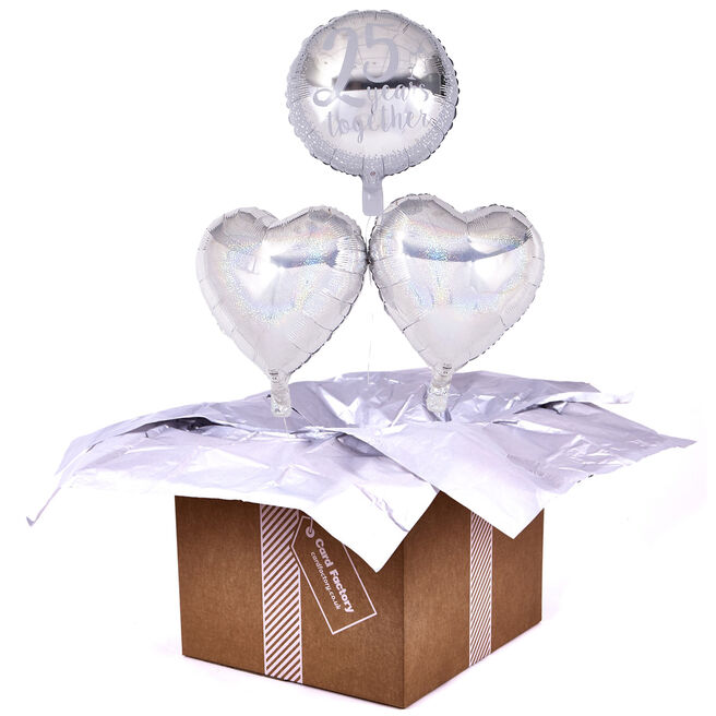 25th Anniversary Silver Wedding Romantic Balloon Bouquet - DELIVERED INFLATED!