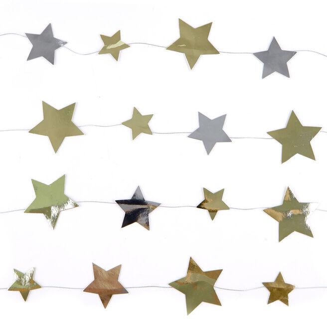 Gold & Silver Stars Garland - 9 Ft