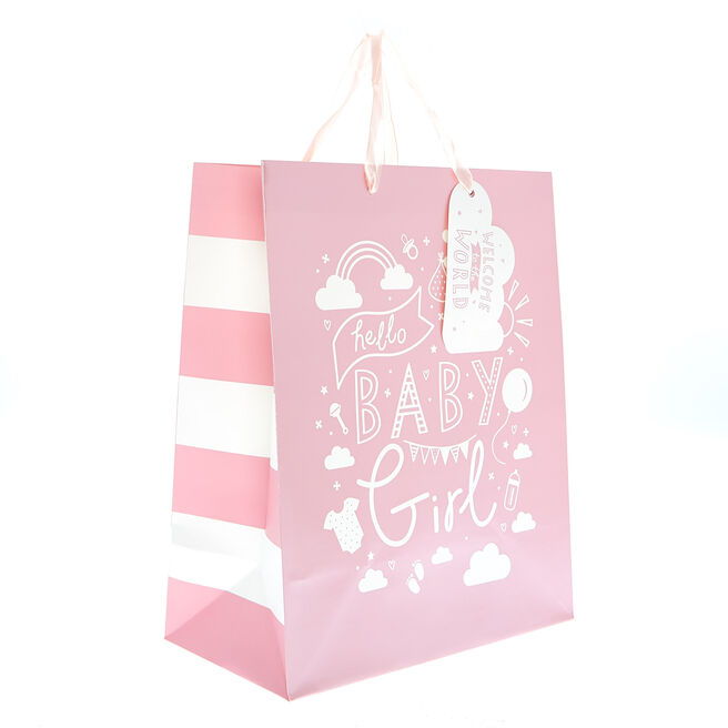 Medium Portrait Gift Bag - Hello Baby Girl