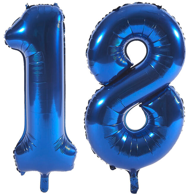 Age 18 Giant Foil Helium Numeral Balloons - Blue (deflated)