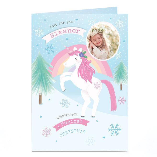 Personalised Photo Christmas Card - Unicorn Magic