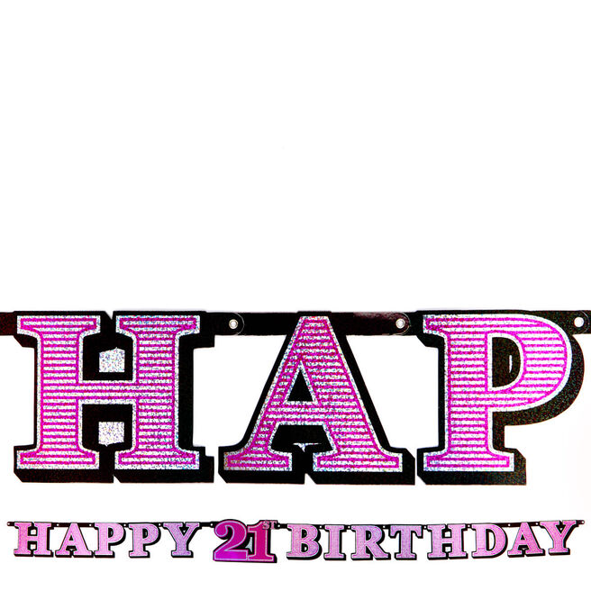 Pink Holographic 21st Birthday Banner