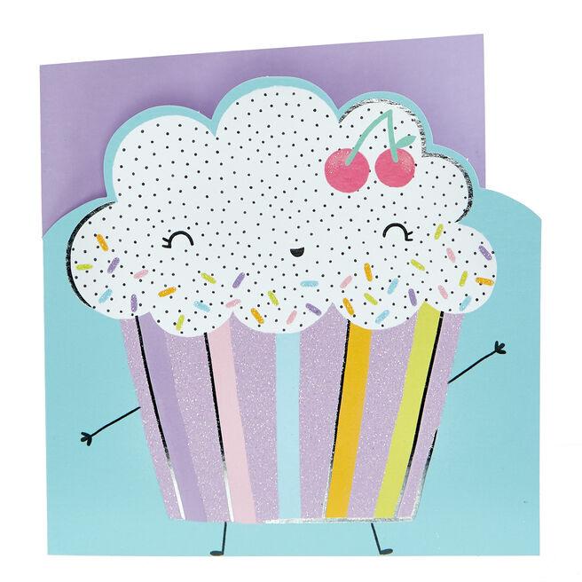 Birthday Card - Colourful Cupcake